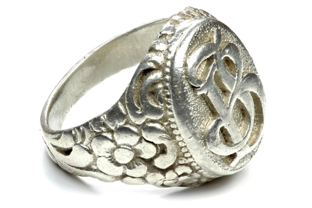antique silver seal ring isolated on white background