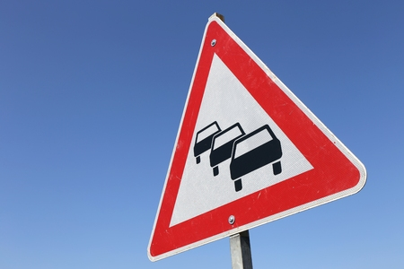 holdup: German road sign: traffic queues likely
