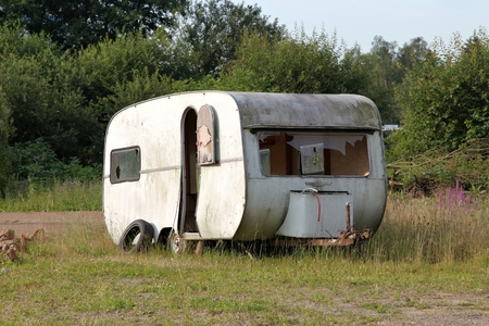 ruinous: old caravan in desolate condition