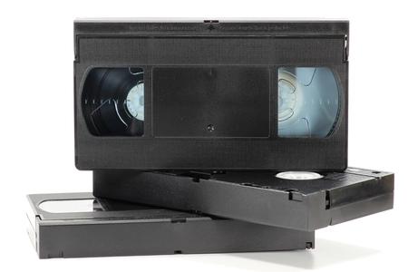 videocassette: videocasetes aisladas sobre fondo blanco Foto de archivo