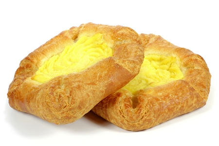 Danish pastry with custard isolated on white background Banque d'images