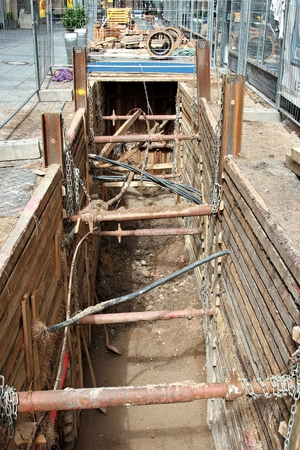 construction trench in urban area Banque d'images