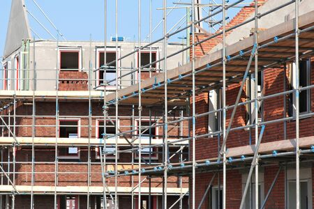 building sector: scaffolding at a residential building currently under construction