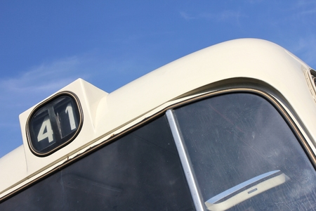 motorbus: bus number of a classic public service vehicle Stock Photo