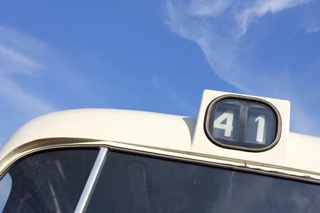 public service: bus number of a classic public service vehicle Stock Photo