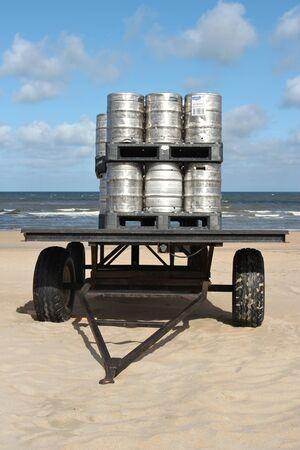 kegs: beer kegs for a beach party