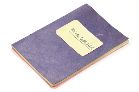 postwar: old German housekeeping book isolated on white background (translation: housekeeping book) Stock Photo