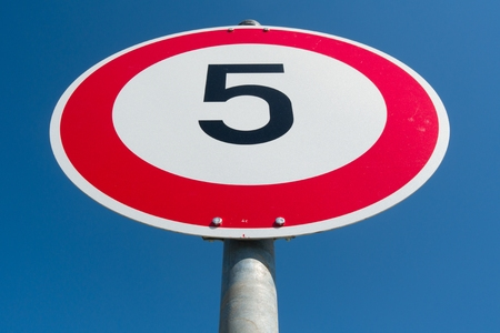 restrictive: German road sign: speed limit 5 km  h Stock Photo