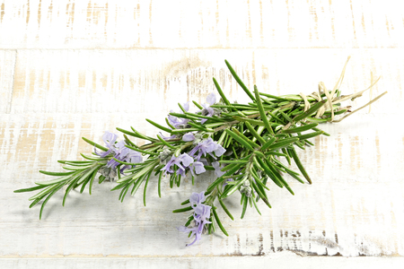 bunch of rosemary on wooden background