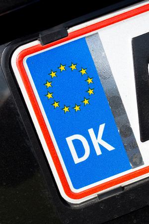numberplate: country identifier of EU car registration plate: Denmark Stock Photo