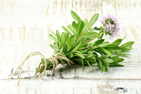 herbary: bunch of thyme on wooden background