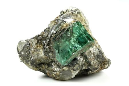 emerald nestled in bedrock found in Muzo / Colombia