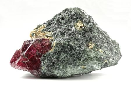 ruby nestled in bedrock found in Winza  Tanzania