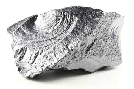 silicio: silicio muy puro de Freiberg  Alemania, aislada en el fondo blanco