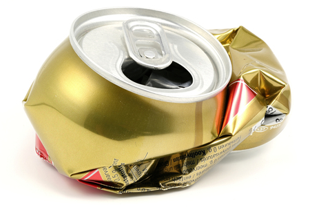 crushed: crushed beverage can isolated on white background