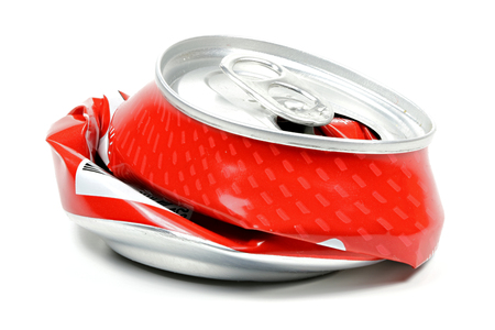 crushed beverage can isolated on white background