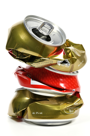 crushed aluminum cans: crushed beverage cans isolated on white background