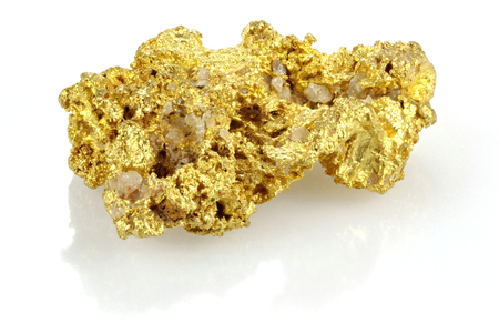 nugget: gold nugget found in the Golden Triangle of central Victoria  Australia isolated on white background Stock Photo