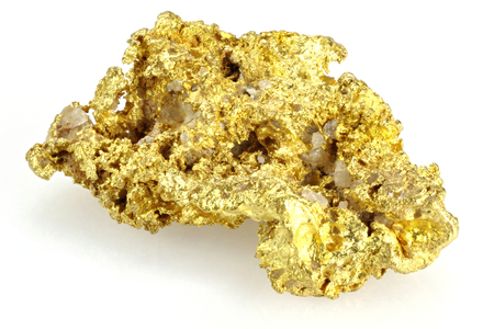 gold rush: gold nugget found in the Golden Triangle of central Victoria  Australia isolated on white background Stock Photo