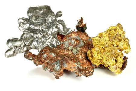 gold, silver and copper nuggets isolated on white background