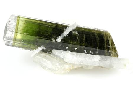 green tourmaline: deep green tourmaline with some quartz matrix found in Skardu  Pakistan