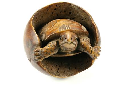 boxwood: antique Japanese netsuke turtle made of boxwood isolated on white background