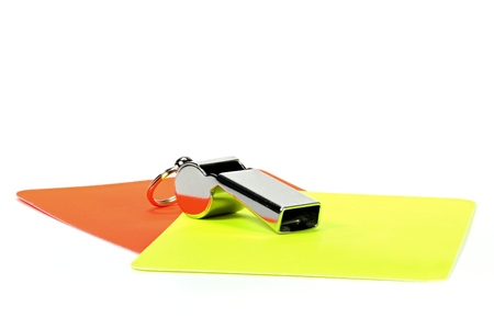 reprimand: referee equipment isolated on white background Stock Photo