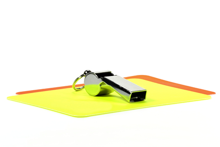 loudness: referee equipment isolated on white background Stock Photo