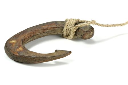 fishhook: fishhook made of bone in the East Sepik Province  Papua New Guinea Stock Photo
