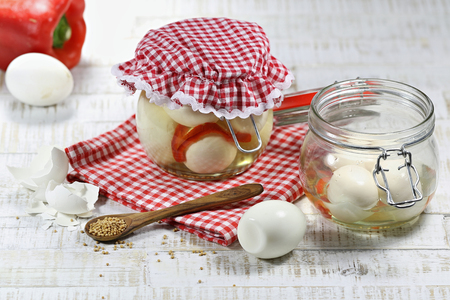 durability: homemade pickled eggs Stock Photo
