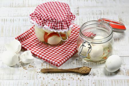 homemade pickled eggs Stock Photo