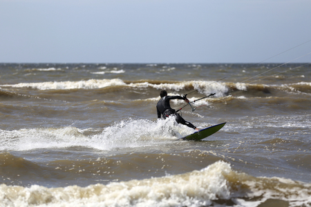 kiteboarder op de Nederlandse Noordzeekust Stockfoto