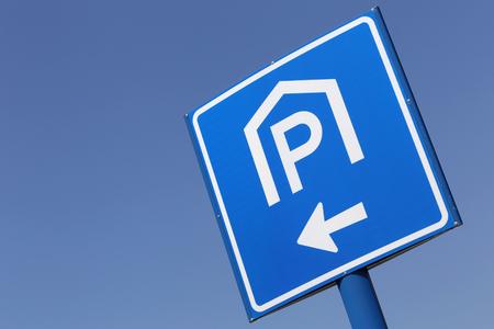 car park: Dutch road sign: covered car park Stock Photo