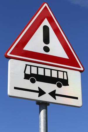 danger ahead: Dutch road sign: danger, buses crossing ahead