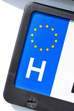 numberplate: country identifier of EU car registration plate: Hungary