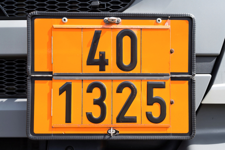 flammable: orange-colored plate with hazard-identification number 40 and UN Number 1325 (flammable solids, organic, nos)