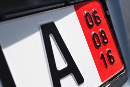 validity: expiration date of the vehicle insurance of a German special registration plate for vehicles to be exported (in this case August 6, 2016)