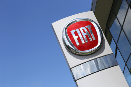 fiat: Fiat dealership sign in front of the showroom