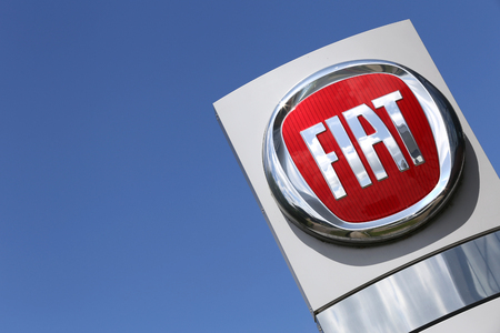 retailing: Fiat dealership sign in front of the showroom
