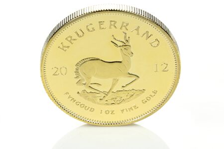 ounce: South African 1 ounce gold bullion coin isolated on white background