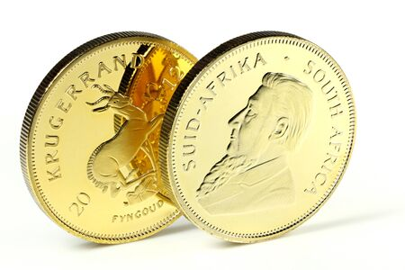 ounce: South African 1 ounce gold bullion coins isolated on white background