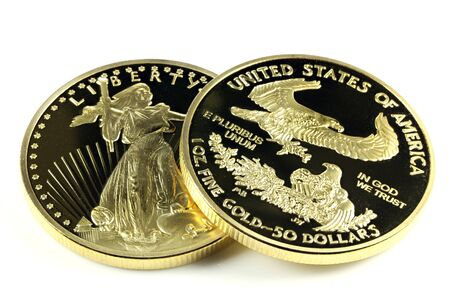 ounce: 1 ounce American gold eagle bullion coins isolated on white background