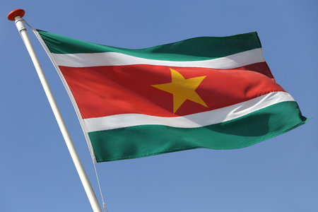 Surinamese flag blowing in the wind