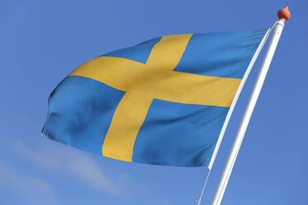 swedish: Swedish flag blowing in the wind