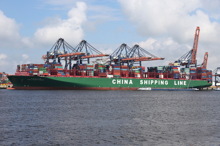 foreign trade: CSCL PACIFIC OCEAN moored at the Euromax Terminal Maasvlakte  Rotterdam Editorial