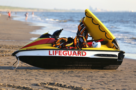 personal watercraft: waterscooter of the Dutch lifeguard association at the beach of Katwijk