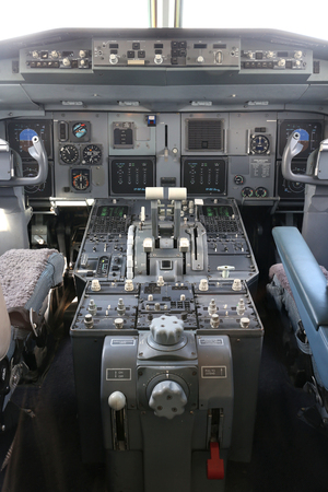 airliner: cockpit of a twin engined airliner