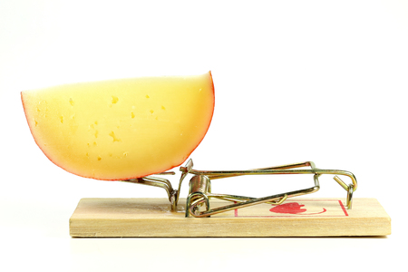 spring mousetrap with large piece of cheese isolated on white background