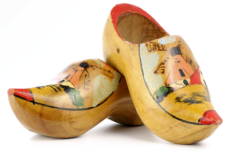 old Dutch souvenir clogs isolated on white background Banque d'images