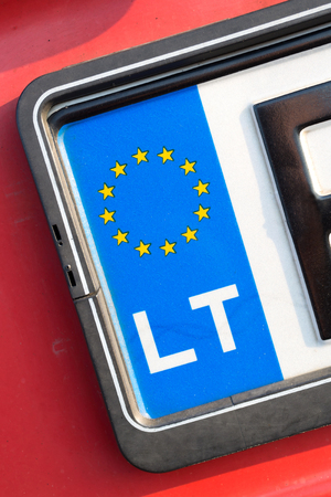 numberplate: country identifier of EU car registration plate: Lithuania Stock Photo